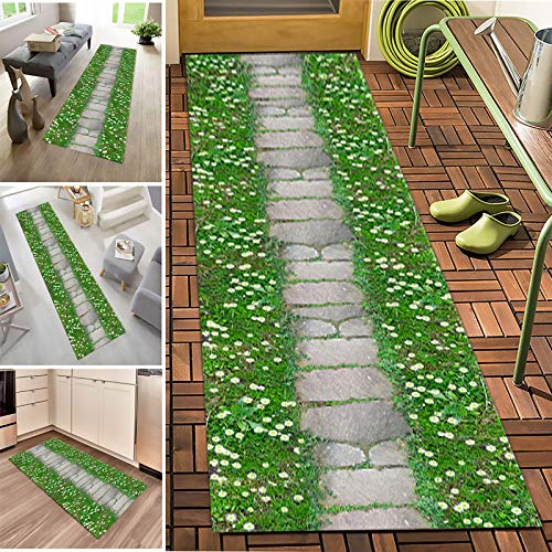 Runner Rugs Modern Natural Scenery Non-slip Water Absorption Carpet Corridor Entrance Rug,Crystal Velvet Fabric,Long Washable Carpet,7mm Thick,Length Can Be Customized(Size:1.4×4m)