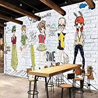 3D壁画壁紙白いレンガの壁ファッション女の子の壁紙壁画モダンなリビングルームの寝室の壁紙家の装飾-350x256cm