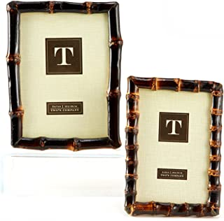 Two's Company Bamboo Photo Frames, Set of 2