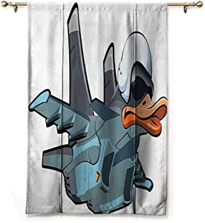 Tie Up Shade Window Airplane Decor Collection,Jet Bird Angry Comic Aircraft Army German Pilot Helmet Duckling Funny Character Image,Grey White,23