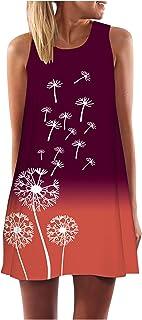GOKOMO Kleid Damen Blumen Tie Dye Rundhals Casual Loose Vestkleid Strandkleider Knielangen Sommerkleid Ärmellos Minikleider Tank Tops