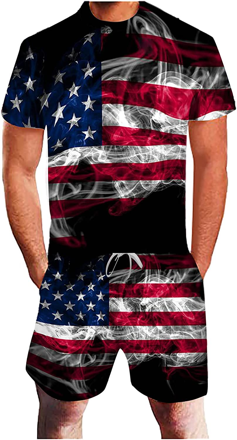 FUNEY 4th of July Shirts for Mens 2 Pieces Short Sleeve Shirt and Shorts Suit Hawaiian Outfits USA Flag Patriotic Tracksuit