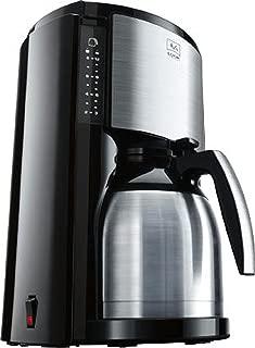 Melitta Look Therm Cafetera de Filtro con Jarra isotérmica, Selector de Aroma, Capacidad 10 Tazas (125 ml), Negro/Acero Inoxidable
