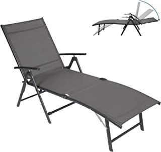 Circrane Outdoor Lounge Chair, Textiline Folding Chaise, Lounge Recliner for Beach/Yard/Pool/Patio with 7-Positions Adjust...