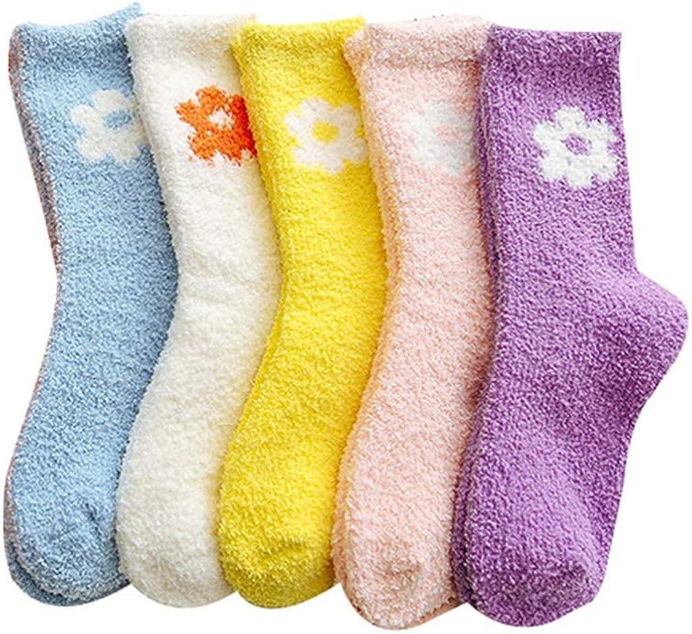 ABOOFAN 5 Ranking TOP15 Pairs Attention brand Winter Fuzzy Socks Warm Flower Cozy Coral Fleece