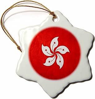 3dRose ORN_28248_1 Hong Kong Flag-Snowflake Ornament, Porcelain, 3-Inch