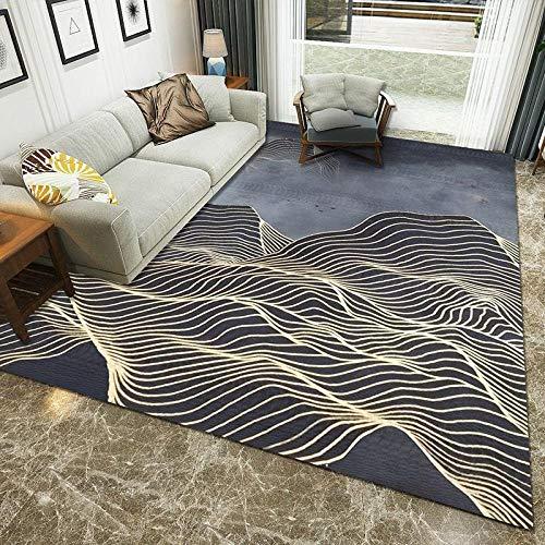 Outdoor-QJ Groessen Moderner Wohnzimmer Teppich Dunkelblaues Gold Kurzflor rutschfest Pflegeleicht Schlafzimmer Zimmer Teppich Sofa Tisch Kind Krabbeln Läufer Matte 140x200CM