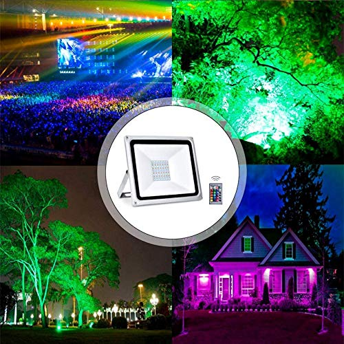 Proyectores LED RGB, luz de inundación que cambia de color de 50 W con control remoto, 4000LM, 16 colores y 4 modos, IP65 a prueba de agua, iluminación de paisaje para escenarios de jardín al aire lib