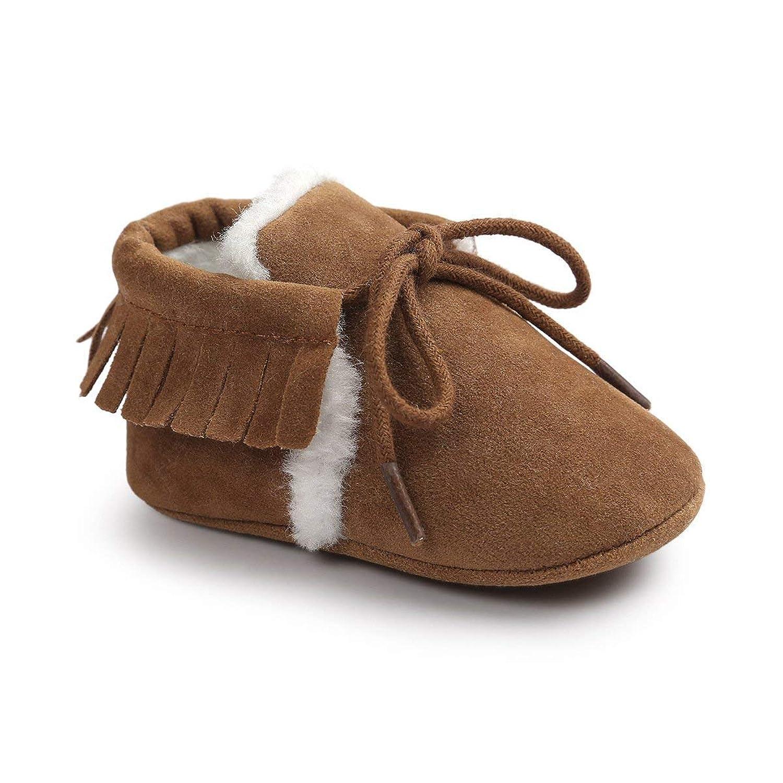 ベビーシューズ 男の子 女の子 上履き ベビー 履きやすい 子供靴 こども靴 柔らかい スエード 軽量 耐磨 靴 赤ちゃん ボア付き 暖かい かわいい ファーストシューズ 6~12ヶ月 出産祝い プレゼント おしゃれ (12cm, ライトブラウン)