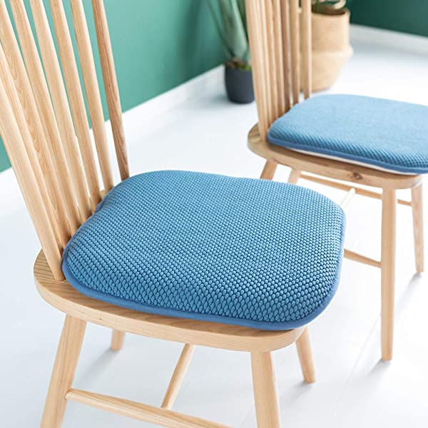 JiaQi Chair Pad Seat Cushioninging Memory Cotton Filling Nonslip Back Cotton Square Seat Cushioning Tatami Breathable Chair Cushion Blue 41x41x4cm 16x16x2inch