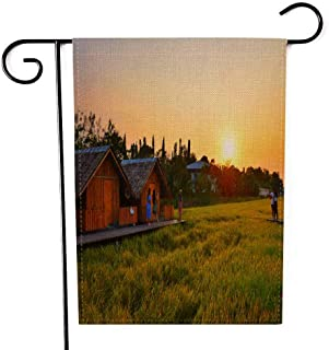 EMMTEEY Holiday Garden Flag Double Sided Burlap Decoration 12.5x18 Inch for Yard Outdoor Decor Garden Flag The View of Sunset in Fields and Cabin Beautiful Nature Thailand March Pathom 2019