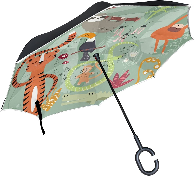 SENWEI Cute Animals Sloth Tiger Reverse Umbrella Folding Ingreened Umbrellas Windproof Double Layer C Handle for Car Outdoor, Green