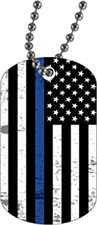 Police Officer Military Style Dog Tag Pendant Jewelry Necklace Thin Blue Line Tattered