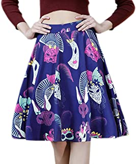 Afibi Print A Line Pleated Vintage Skirts for Women