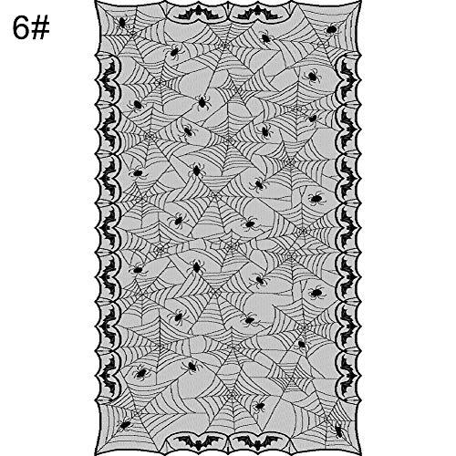 dljztrade tafelkleed van kant voor Halloween, spinnennet, open haard, sjaal, tafelkleed, feestaccessoires 6 #