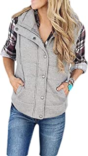Macondoo Womens Winter Jacket Warm Zipper Sleeveless Stand Collar Vest