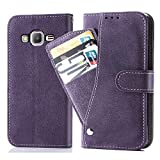 Asuwish Galaxy G530/J2 Prime/Galaxy Grand Prime Wallet Case,Leather Phone Case with Credit Card Holder Slot Kickstand Stand Flip Folio Protective Cover for Samsung Galaxy Grand Prime G532 Purple