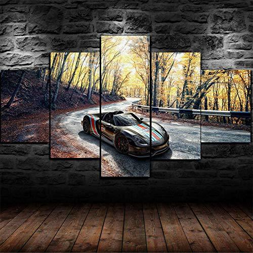 ERSHA 5-teiliges 5-teiliges Wandbild auf Leinwand als Dekoration für Wohnzimmer, Kinderzimmer, modular, Poster 918 Supercar (gerahmt)