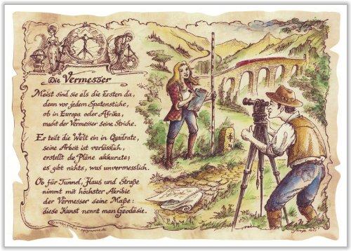 Geschenk Vermesser Geodäsie Gedicht Zeichnung Color 30 x 21 cm