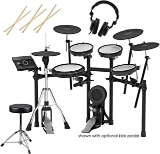 Roland TD-17KVX V-Drums Electronic Drum Set - 3x H&A Drum Sticks, Wood Tip, Pair - H&A Double-Braced Drum Throne - H&A Closed-Back Studio Monitor Headphones