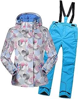 84adb88b900 LSERVER Ropa Impermeable de Nieve Conjunto de Ropa de Esquí + Mono de  Pantalones Traje Estampado