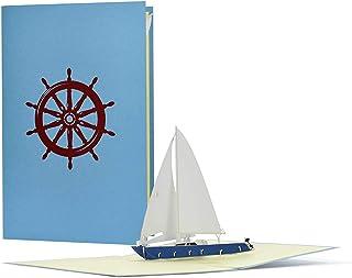 Gutschein oder Geburtstagskarte mit 3D Pop up Segelboot, Yac