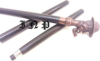 india.nautical.store Victorian Men's Sherlock Holmes Hardwood Black Shaft Unique Walking Stick