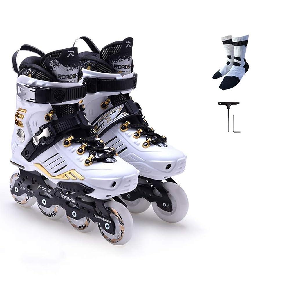 うなずく日付オーケストラインラインスケート インラインスケート、大人のファンシープロの単列スケート靴インラインスケート、初心者ローラースケート(白) (色 : A, サイズ さいず : EU 38/US 6/UK 5/JP 24cm)