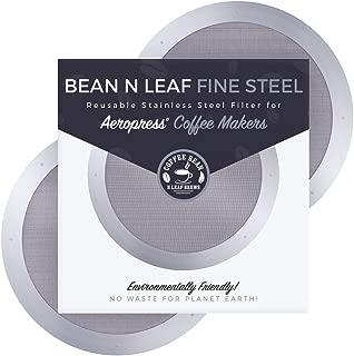 Aeropressコーヒーメーカー用プレミアム再利用可能フィルター2枚 Aerobie Aeropress コーヒーメーカーモデル用 耐久性のあるステンレススチールと簡単に洗える金属。 Coffee Bean n Leaf Brews ファインスチール 2個パック
