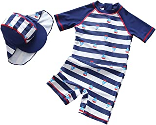 TAIYCYXGAN Baby Toddler Boys Rash Guards Swimsuit Stripe Bathing Suit One Piece Zip Up Surfing Suit Swimwear with Hat