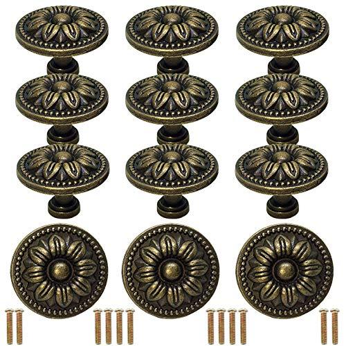 BITEFU Juego de 12 pomos de estilo vintage con forma de flor para puertas de armarios o cajones con tornillos para cajonera, armarios de cocina