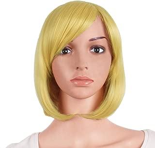 MapofBeauty 12 Inch/30cm Beautiful Short Straight Side Bangs BOB Wig (Blonde)