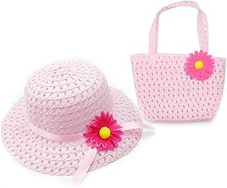 Clest F & H Lot chapeau de paille bébé pour fille à fleur et sac à main multicolore