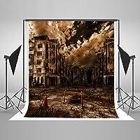 Kate 5x7ft(1.5mx2.2m) 捨てられた工場 背景布 撮影用 写真撮影 陰鬱な空 再利用 綿 背景紙