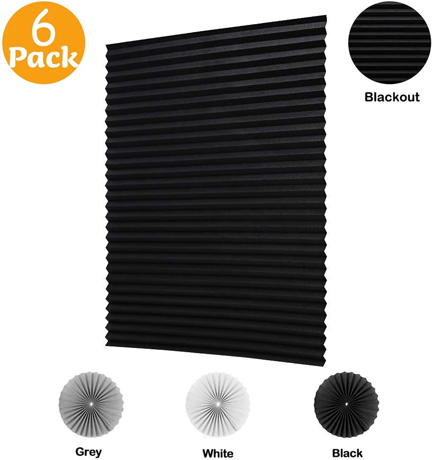 LUCKUP 6 PackCordless Blackout Pleated Fabric Shade, Easy to Cut and Installl, with 12 Clips (36 x72  - 6 Pack, Black)