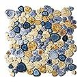 Glazed Blue Mosaic Ceramic Pebble Porcelain Tile Swimming Pool Bath Shower Wall Flooring Tile TSTGPT001 (10 Square Feet)