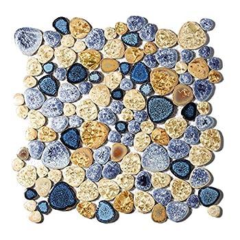 Glazed Blue Mosaic Ceramic Pebble Porcelain Tile Swimming Pool Bath Shower Wall Flooring Tile TSTGPT001  10 Square Feet