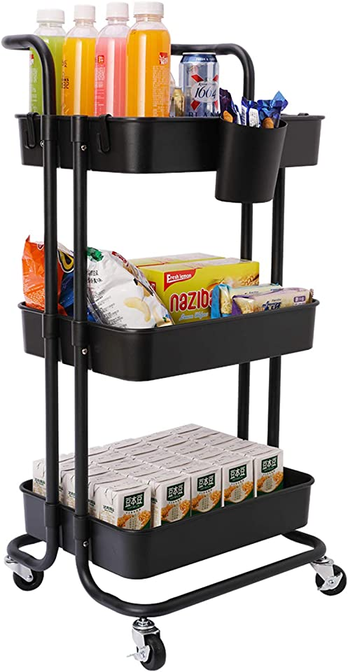 JAKAGO Kitchen Trolley on Wheels 3 Tier Basket Rolling Cart 132 lbs Capacity Storage Rack with 2 Lockable Wheel Shelf for Home Office Kitchen Bathroom Beauty Salon Spa Serving (Black3, 3 Tier)