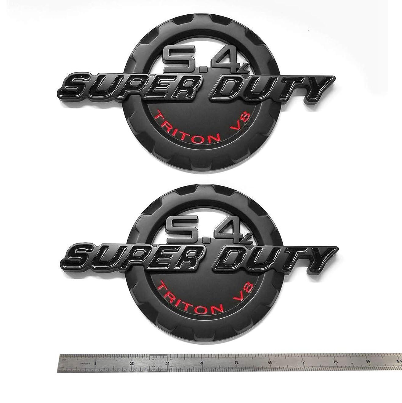 住む予感道OEM 5.4L スーパーデューティー トリトン V8 エンブレム サイドフェンダー 3D ロゴ スーパーデューティー バッジ 交換用 F250 F350 5.4 ブラック レッド