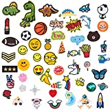 DIY 55pcs Patch Assorted Styles Embroidered Pathes Assorted Size Patches Sew On Iron On Patches Applique for Jackets, Clothing, Backpack, Sewing Flowers Applique DIY Accessory (Assorted-Style)