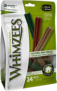 Whimzees Dog Dental Treats Stix Small Mix Brown/Green/Orange 24+4 Pcs