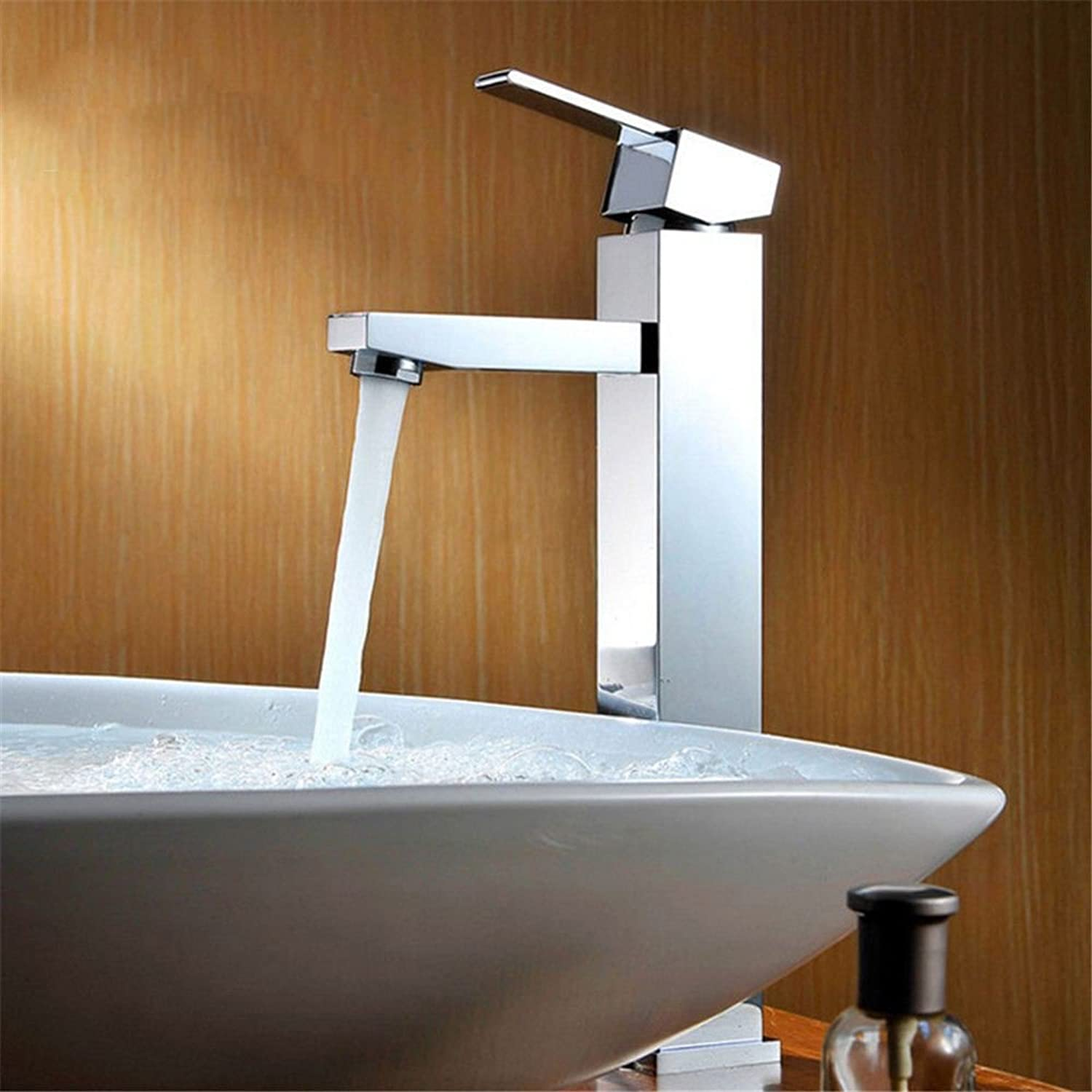 AQMMi Bathroom Vanity Sink Faucet 1 Hole Brass Chrome Hot and Cold Water Single Lever Bathroom Basin Sink Tap Bathroom Faucet