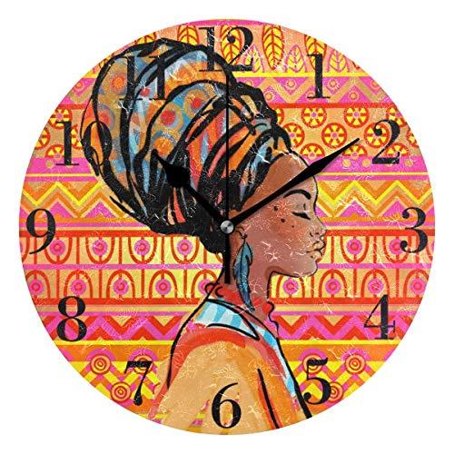 Hermosa Mujer Africana Reloj de Pared Silencioso Reloj de Pared Redondo Funciona con Pilas Sin tictac Reloj Decorativo Creativo para niños Sala de Estar Dormitorio Oficina Cocina Decoración del hogar
