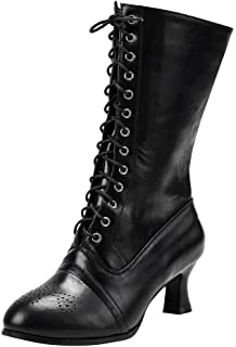 Aniywn Women Lace Up Middle Boots Shoes Ankle Boots High Heels Pointed Toe Combat Mid Calf Booties