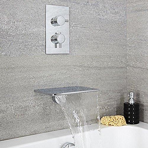 Hudson Reed Waterfall Wannenarmatur - Badewannenarmatur mit Wasserfall-Auslauf mit Unterputzarmatur in Chrom