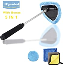 Windshield Wiper Tool Extendable Handle w/ Reusable Microfiber Bonnets Towel,Portable Auto Cleaning kit Interior Exterior,5 in 1 Car Brush Duster Glass Cleaner Set for Vehicle Home