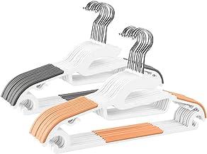 LEEPWEI ハンガー 20本組 洗濯ハンガー 衣類ハンガー 多機能ハンガー 滑り止め 変形にくい 物干しハンガー hanger すべらない 360度回転式 曲がらない 超強い荷重 乾湿両用 ABSハンガー グレーとオレンジ