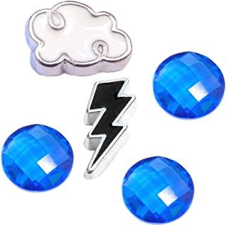 Stormy Weather Clouds and Rain Charm Set for Floating Lockets Jewelry