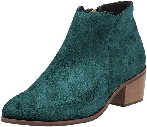 ZHRUI Stiefel de tacón Alto de Cuero para damen Stiefel Retro Casuales (Farbe   6, tamaño   41EU)