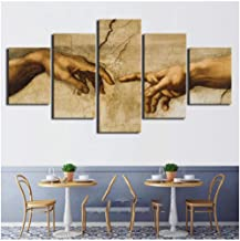 IGZAKER Modular Prints Paintings Home Decorative Hd 5 pcs. Creation of Adam's Hand of God Paintings Office canvas-30x50 30x70 30x80cm (no Frame)